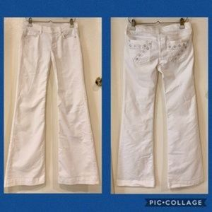7 For All Mankind White DOJO Embroidery & Crystals